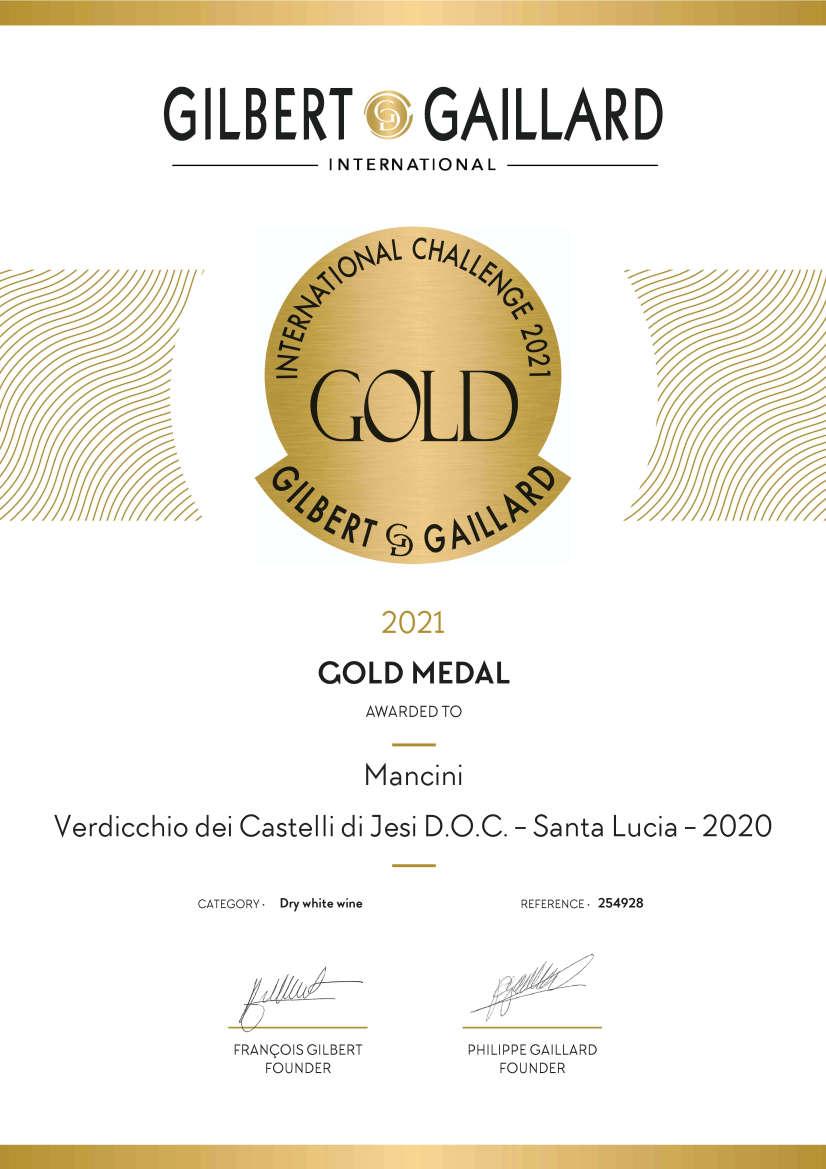 Mancini Vini: Diploma in inglese Medaglia d'Oro Gilbert & Gaillard 2021 per Santa Lucia