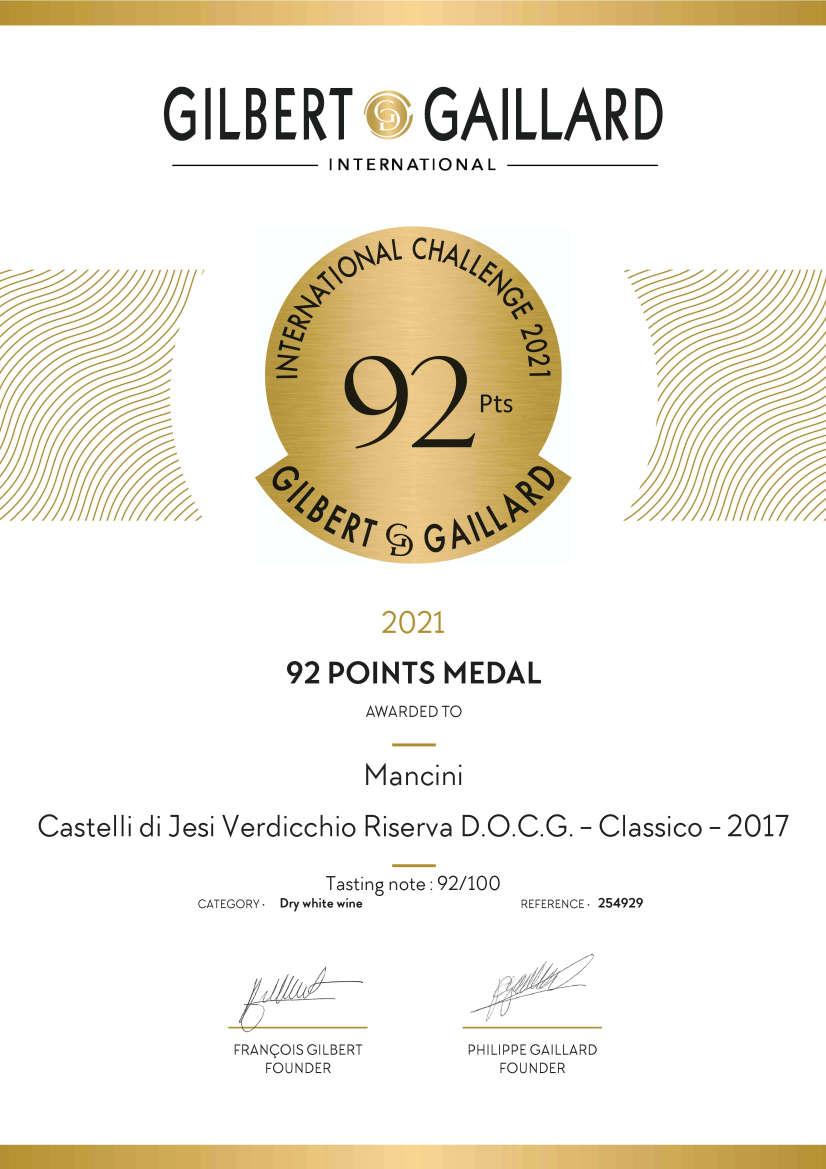 Mancini Vini: Diploma in inglese Medaglia d'Oro Gilbert & Gaillard 2021 Verdicchio Castelli di Jesi