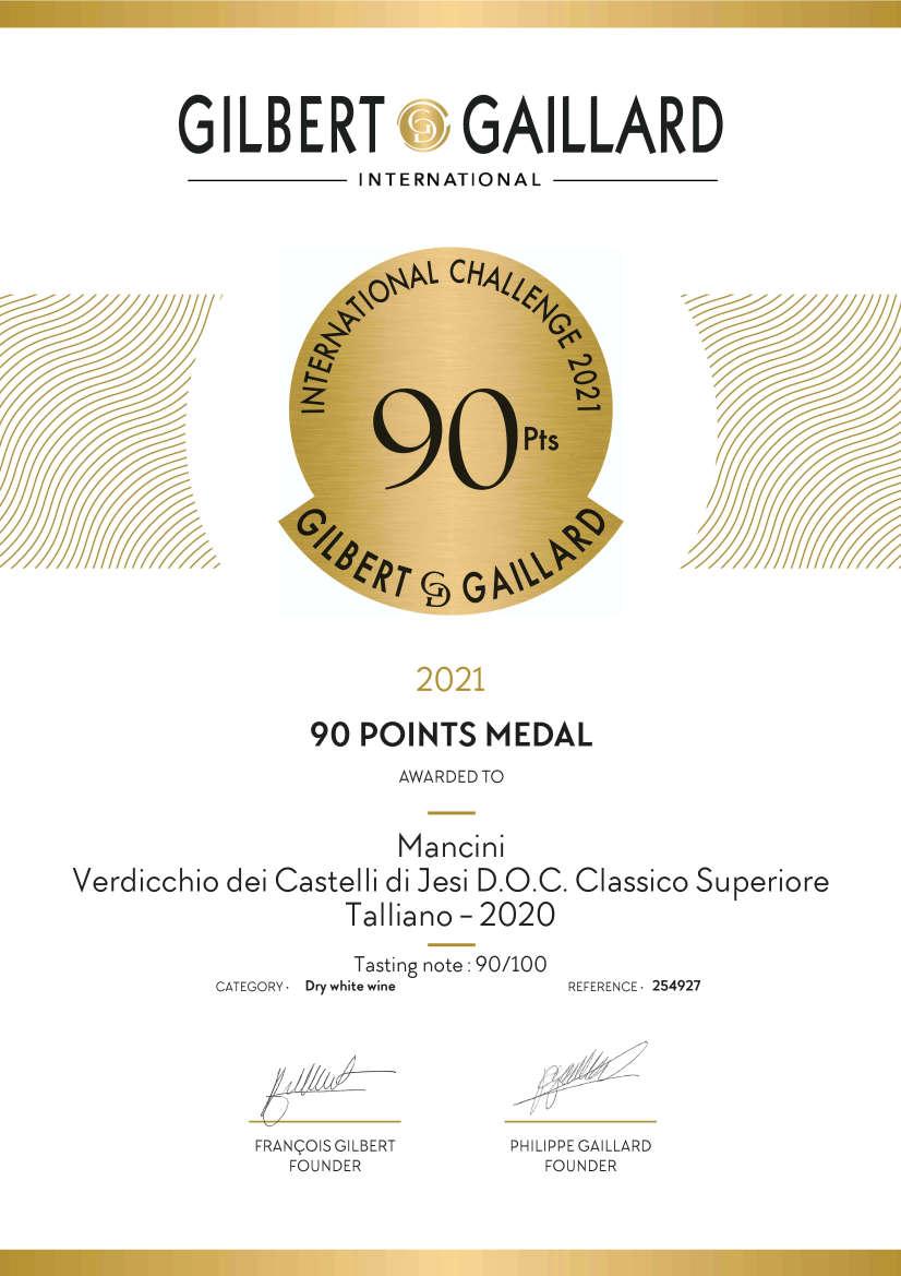 Mancini Vini: Diploma in inglese Medaglia d'Oro Gilbert & Gaillard 2021 Verdicchio Superiore